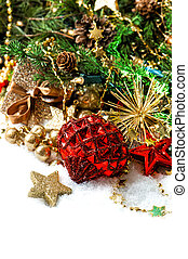 christmas decoration with red baubles and stars