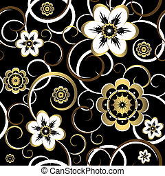 Seamless floral decorative black pattern vector - Seamless...