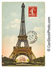 vintage postcard with Eiffel Tower in Paris - vintage...