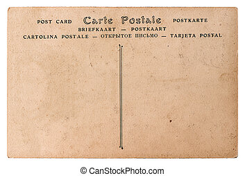 empty antique french postcard. retro style paper background...