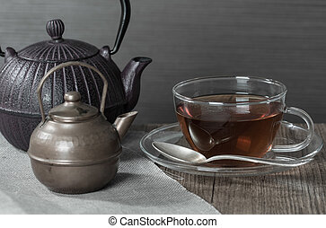 Cup of tea and a vintage teapot