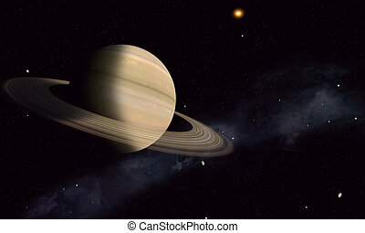 Saturn with Moons
