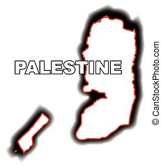Palestine - Outline map of the Arab League country of...