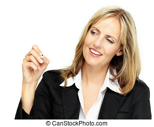 Business Woman - Woman writing something in the air with...