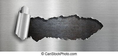 Torn metal hole background - Torn steel metal hole...