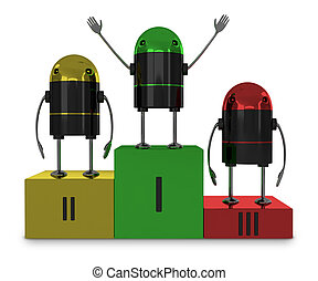 Robots on podium isolated
