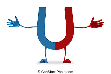 Magnet character - Welcoming blue and red glossy magnet...