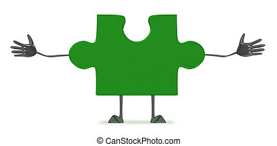 Green puzzle piece character - Welcoming glossy green puzzle...