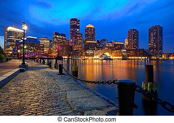 Boston sunset skyline at Fan Pier Massachusetts - Boston...