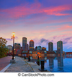 Boston sunset skyline at Fan Pier Massachusetts - Boston...