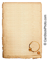 antique book page with coffee stains old paper sheet...