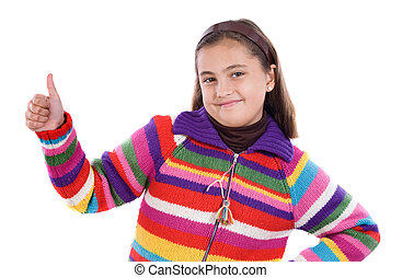 Adorable girl saying OK on a over white background