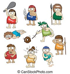 Stone age people cartoon vector