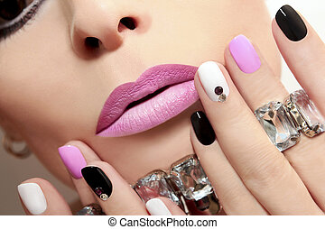 Fashion nails. - Fashion nails with rhinestones and colored...