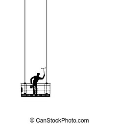 window cleaner - abstract silhouette of a window cleaner at...