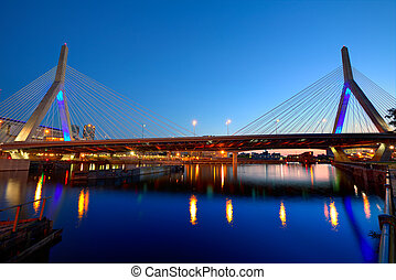 Boston Zakim bridge sunset in Massachusetts - Boston Zakim...