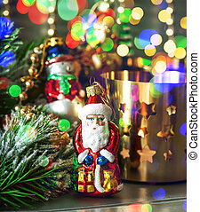 christmas decorations with multicolor lights