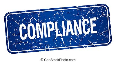compliance blue square grunge textured isolated stamp