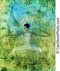 Free Form Chakra Flow - Woman in yoga pose with alchemical...
