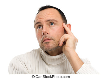 Pensive Man - Casual man on white background