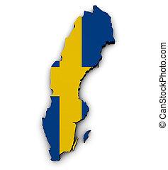 Sweden Map Flag 3d Shape