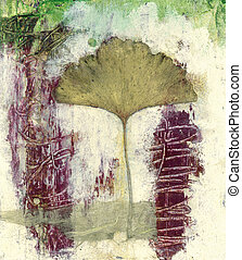 Ginkgo Leaf Abstract - Ginkgo leaf collage with abstract...