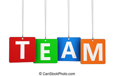 Team Sign On Colorful Tags
