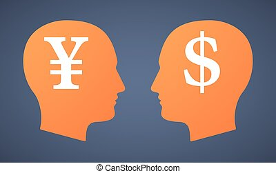 Head set with a yen and a dollar - Illustration of a head...