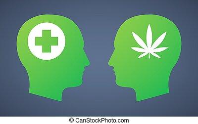 Head set with a marijuana leaf and a pharmacy sign -...
