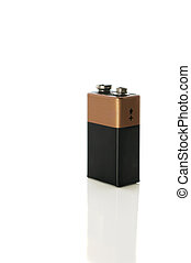 9 volt battery on white with clipping path