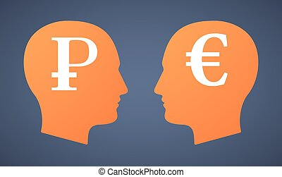 Head set with a ruble and an euro - Illustration of a head...