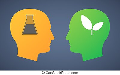 Head set with a chemical test tube and a plant -...
