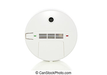 Alarm on white with clipping path - SmokeCarbon monoxide...
