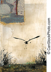 Pelican Silhouette - Mixed medium photo based collage with a...