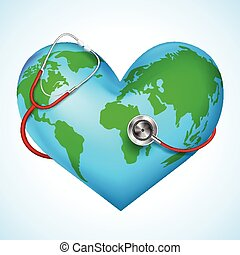 Stethoscope around hearth shaped world - vector illustration...