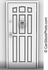 The close Door - 3d image of grey door.