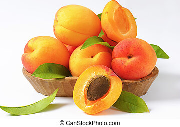 Fresh apricots - Ripe apricots in wooden bowl