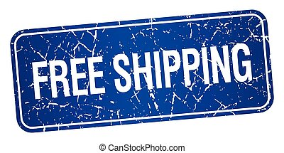 free shipping blue square grunge textured isolated stamp