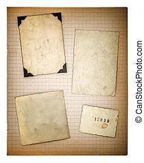 old photo frames and mathe book page. aged paper