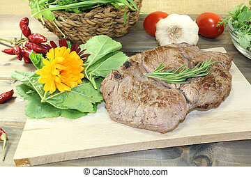 Entrecote and Wild herb salad
