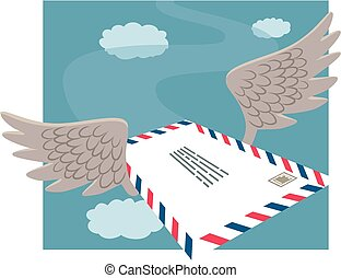 Airmail - A letter flying through the air with a pair of...