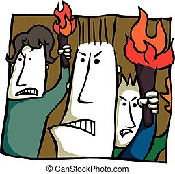 Angry torch bearers - Cartoon of an angry mob bearing...