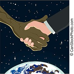 Extraterrestrial handshake - An alien and human hand shake...