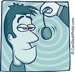 Hypnotist at work - Cartoon of a hypnotist practising on his...