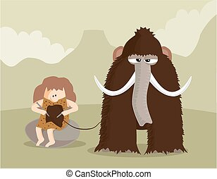 Mammoth knitting - A prehistoric domestic scene of a...