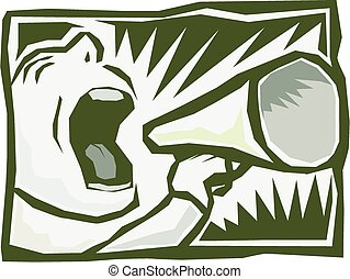 Megaphone man - Cartoon image of a man shouting into a...