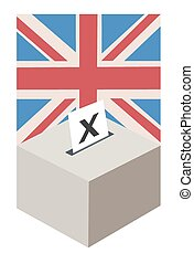 UK Election - A ballot box with a single vote being cast,...