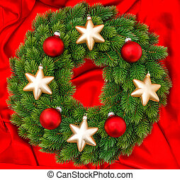 christmas decoration wreath with gold and red baubles