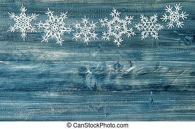 Snowflakes, madeira, sobre, feriados, rústico, fundo, borda, Inverno