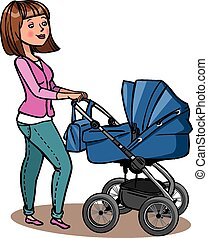 Funny cartoon mother with baby stroller. Vector illustration
